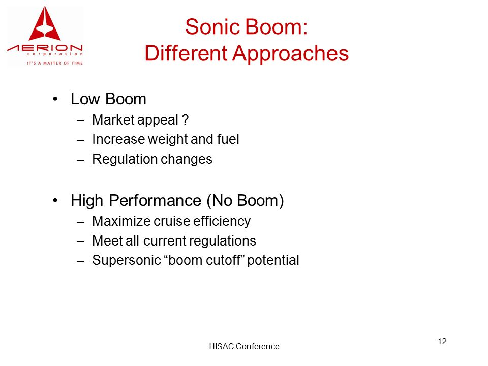 HISAC Conference 12 Sonic Boom: Different Approaches Low Boom –Market appeal .
