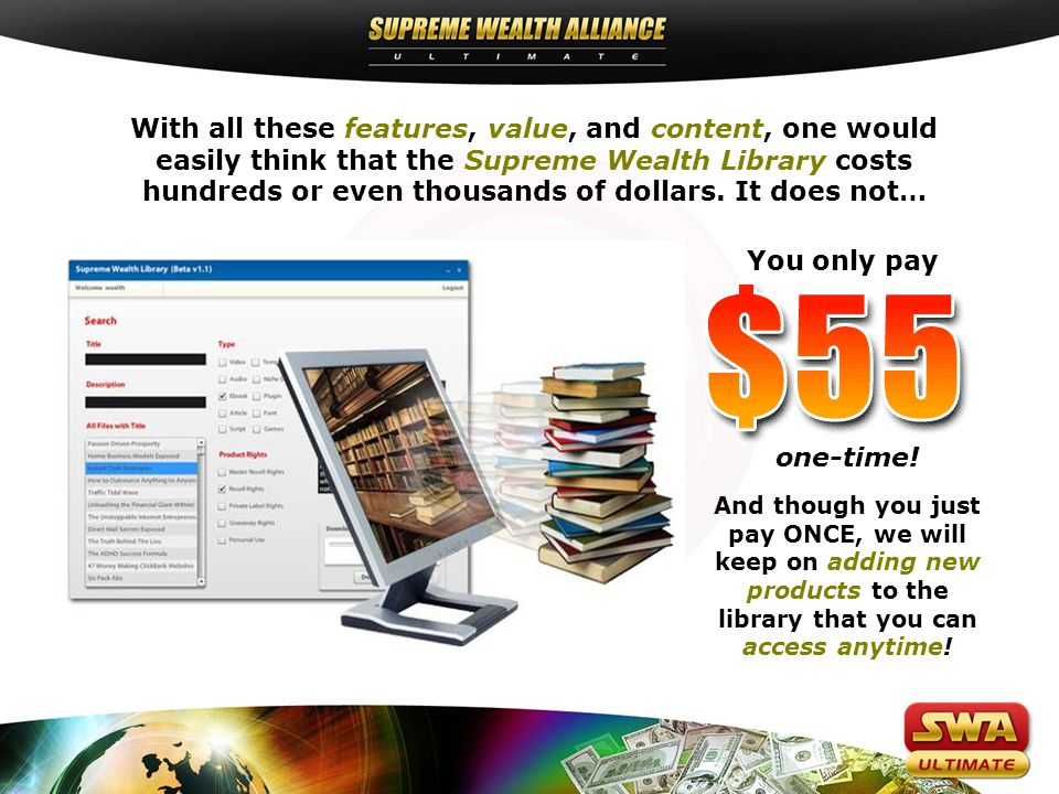 With all these features, value, and content, one would easily think that the Supreme Wealth Library costs hundreds or even thousands of dollars.