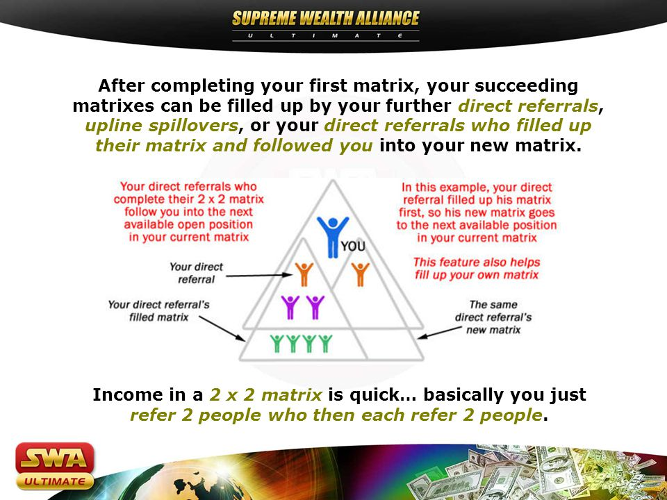 After completing your first matrix, your succeeding matrixes can be filled up by your further direct referrals, upline spillovers, or your direct referrals who filled up their matrix and followed you into your new matrix.