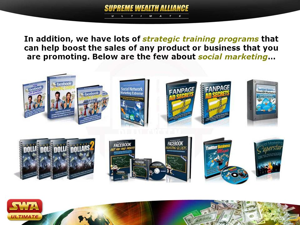 Every one who joins SWA Ultimate and purchases the Supreme Wealth Library gets into the 2 pay plans.