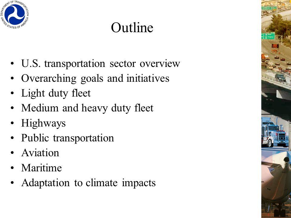 Outline U.S. transportation sector overview Overarching goals and initiatives Light duty fleet Medium and heavy duty fleet Highways Public transportat