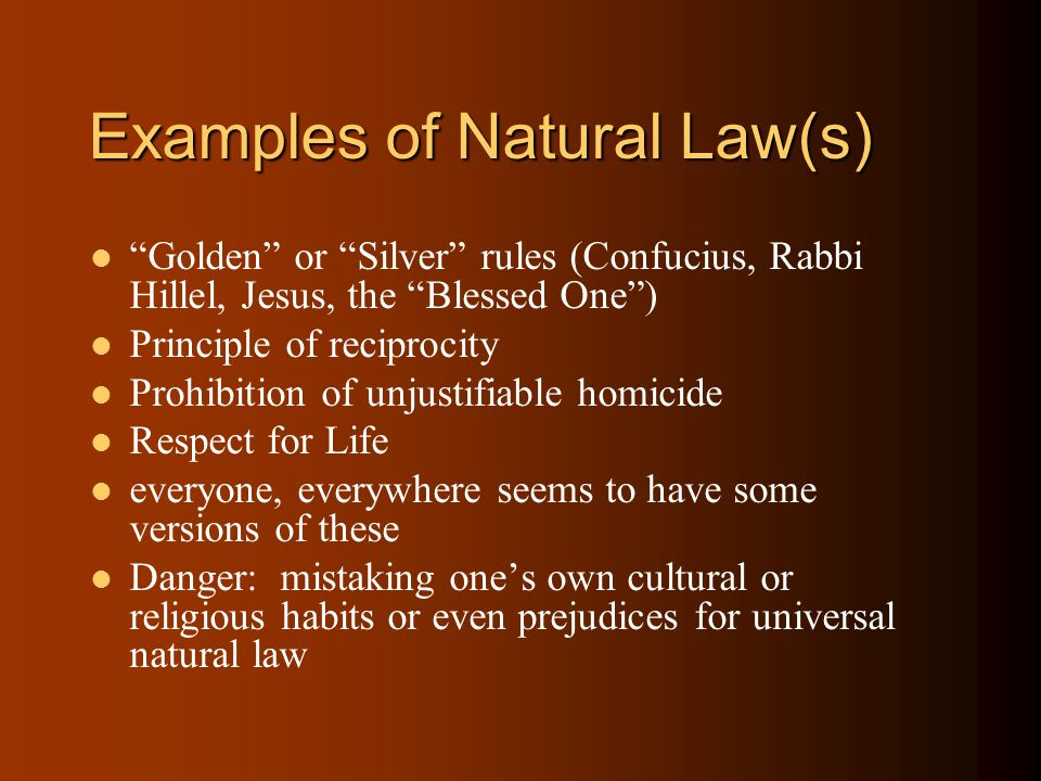 Examples of Natural Law(s) Golden or Silver rules (Confucius, Rabbi Hillel, Jesus, the Blessed One ) Principle of reciprocity Prohibition of unjustifiable homicide Respect for Life everyone, everywhere seems to have some versions of these Danger: mistaking one's own cultural or religious habits or even prejudices for universal natural law