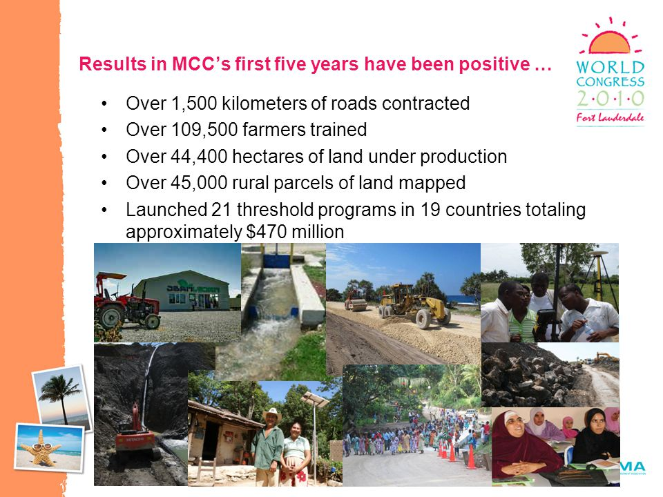 20 Results in MCC's first five years have been positive … Over 1,500 kilometers of roads contracted Over 109,500 farmers trained Over 44,400 hectares of land under production Over 45,000 rural parcels of land mapped Launched 21 threshold programs in 19 countries totaling approximately $470 million