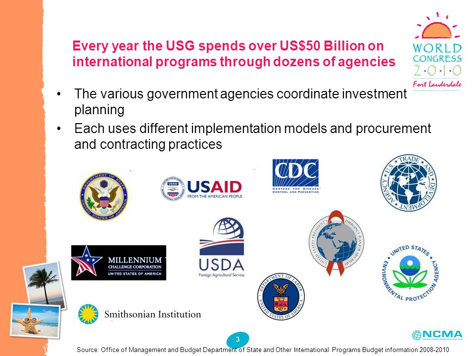 3 Every year the USG spends over US$50 Billion on international programs through dozens of agencies The various government agencies coordinate investment planning Each uses different implementation models and procurement and contracting practices Source: Office of Management and Budget Department of State and Other International Programs Budget information 2008-2010