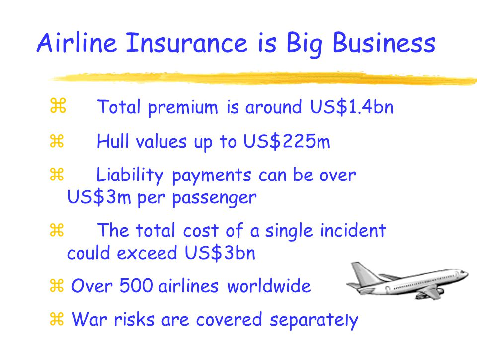 The market can be split into the following areas: z Airlines z General Aviation z Space Risks The Market