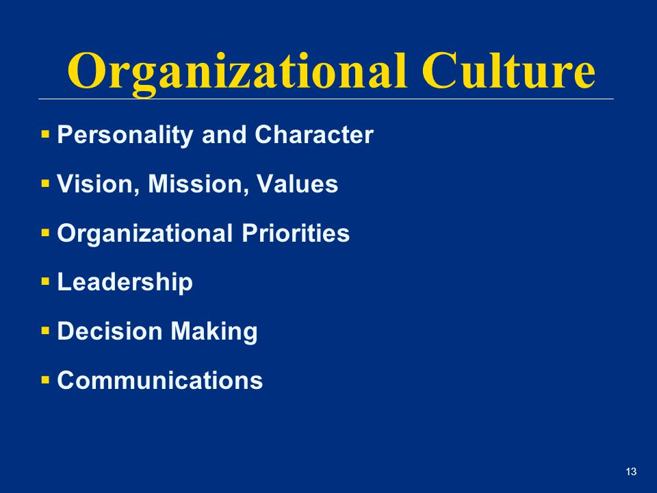 13  Personality and Character  Vision, Mission, Values  Organizational Priorities  Leadership  Decision Making  Communications Organizational Cu