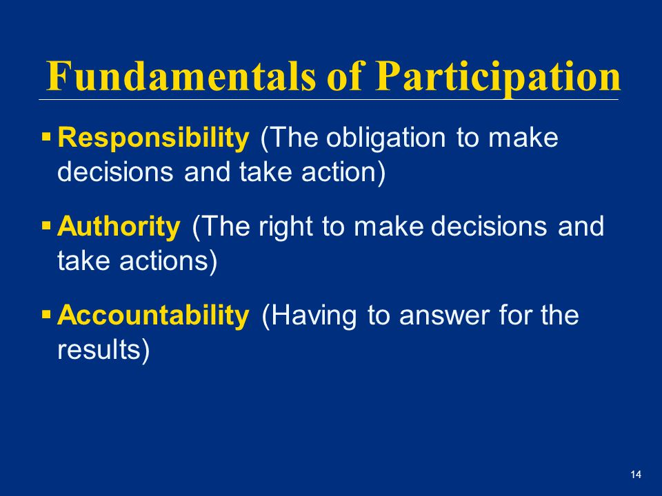 14  Responsibility (The obligation to make decisions and take action)  Authority (The right to make decisions and take actions)  Accountability (Ha