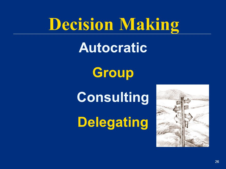 26 Autocratic Group Consulting Delegating Decision Making