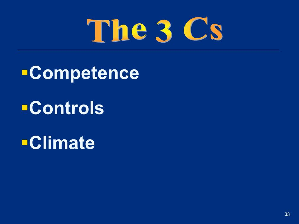 33  Competence  Controls  Climate