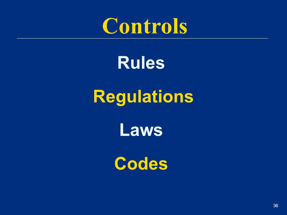 36 Rules Regulations Laws Codes Controls