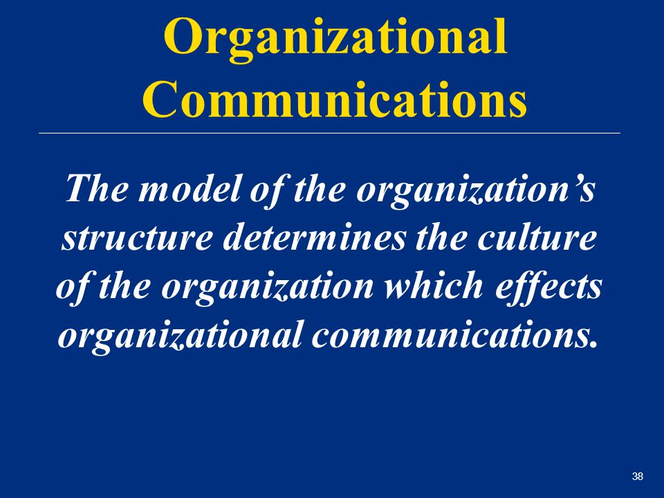 38 Organizational Communications The model of the organization's structure determines the culture of the organization which effects organizational com