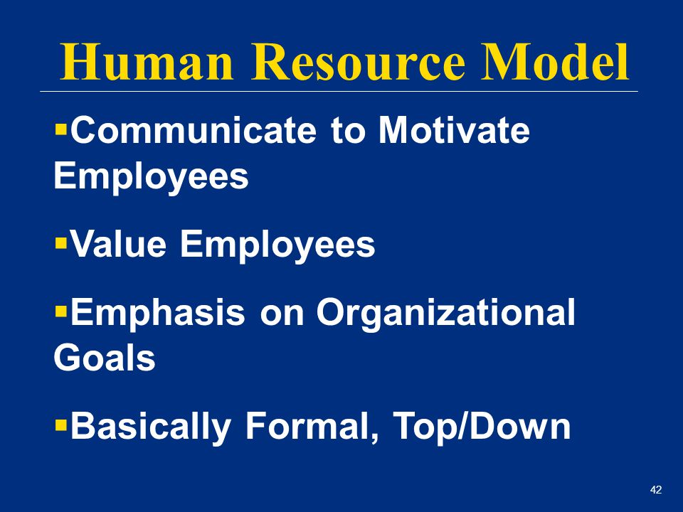 42 Human Resource Model  Communicate to Motivate Employees  Value Employees  Emphasis on Organizational Goals  Basically Formal, Top/Down