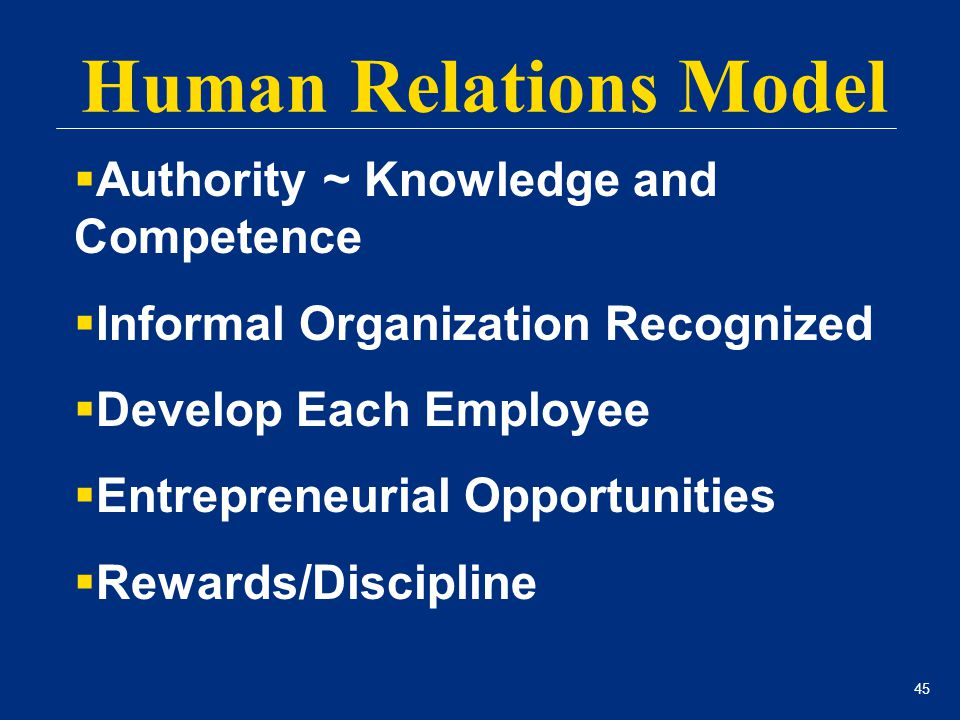45 Human Relations Model  Authority ~ Knowledge and Competence  Informal Organization Recognized  Develop Each Employee  Entrepreneurial Opportuni