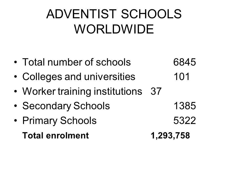 ADVENTIST SCHOOLS WORLDWIDE Total number of schools6845 Colleges and universities101 Worker training institutions37 Secondary Schools1385 Primary Schools5322 Total enrolment1,293,758
