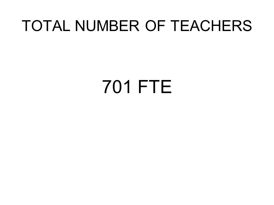 TOTAL NUMBER OF TEACHERS 701 FTE