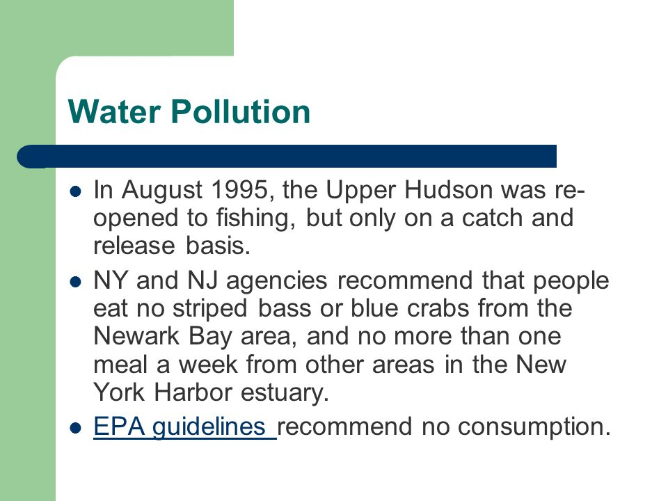 Water Pollution In August 1995, the Upper Hudson was re- opened to fishing, but only on a catch and release basis.