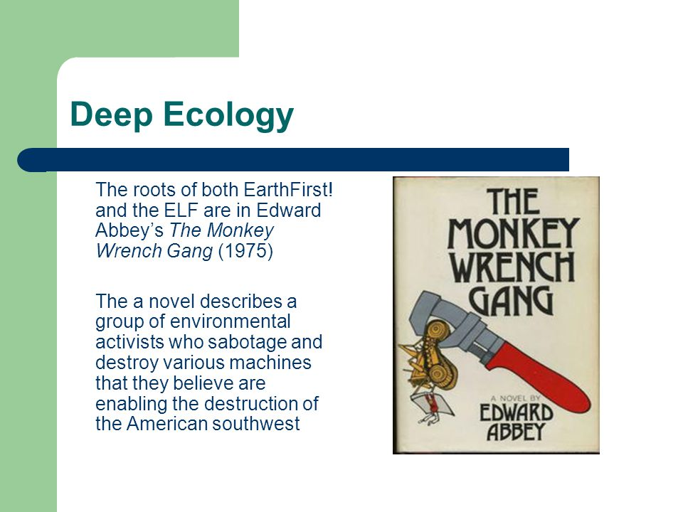 Deep Ecology The roots of both EarthFirst.