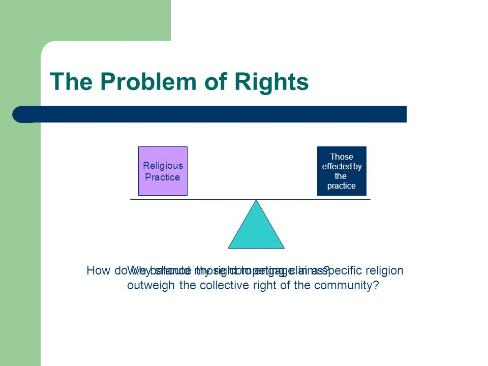 The Problem of Rights Religious Practice Those effected by the practice How do we balance those competing claims Why should my right to engage in a specific religion outweigh the collective right of the community