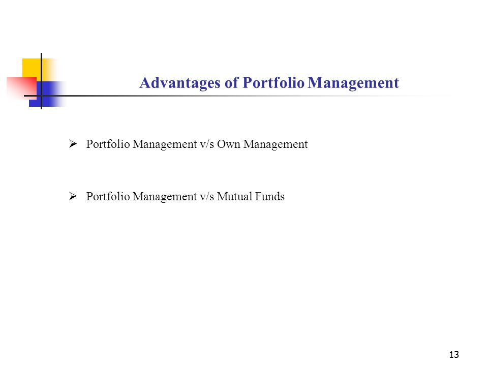 14 Portfolio Management v/s Own Management  Expert Guidance  Professional Management  Ease of investment - No hassles of interacting with brokers, depository participants, bankers  Record Keeping- Regular update of your portfolio  Audited performance reports