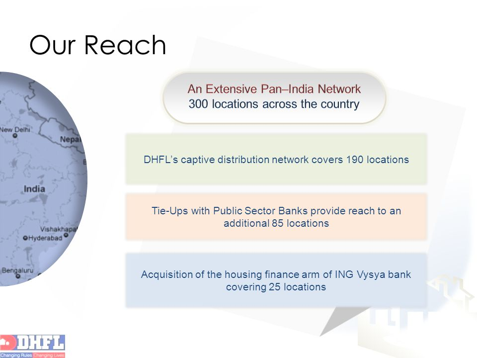 Our Reach DHFL's captive distribution network covers 190 locations Tie-Ups with Public Sector Banks provide reach to an additional 85 locations Acquisition of the housing finance arm of ING Vysya bank covering 25 locations