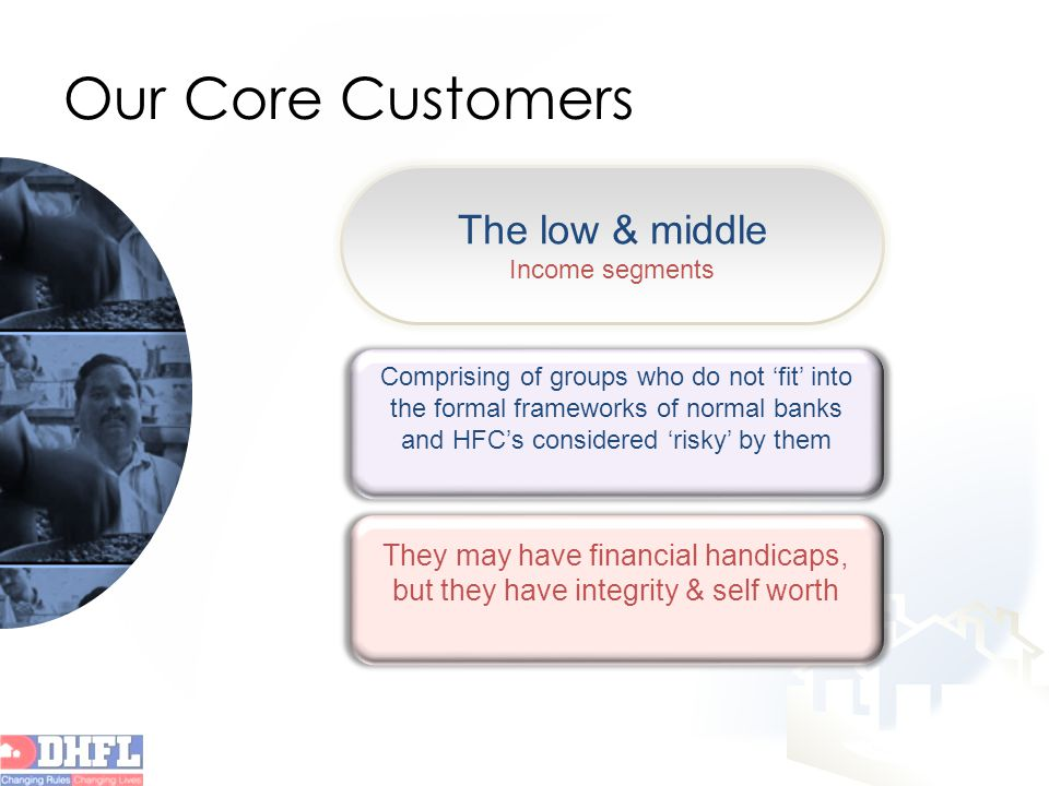 Our Core Customers Comprising of groups who do not 'fit' into the formal frameworks of normal banks and HFC's considered 'risky' by them They may have financial handicaps, but they have integrity & self worth The low & middle Income segments