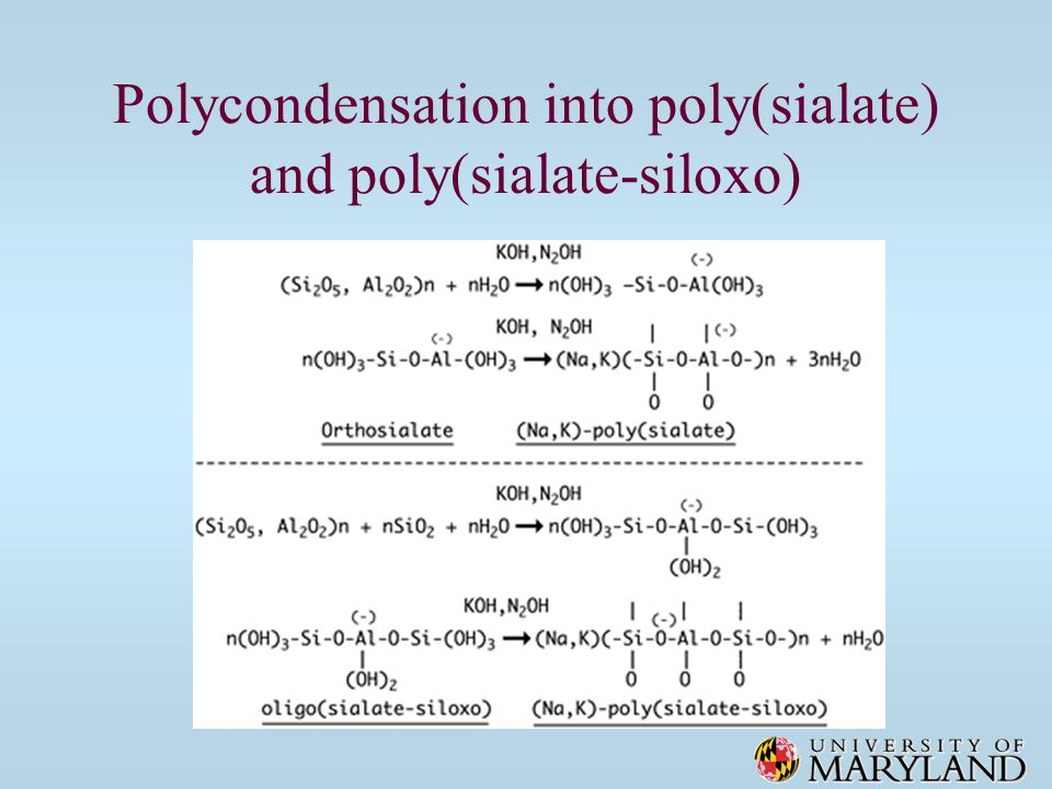 Polycondensation into poly(sialate) and poly(sialate-siloxo)