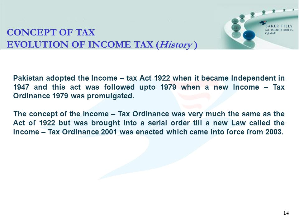 14 CONCEPT OF TAX EVOLUTION OF INCOME TAX (History ) Pakistan adopted the Income – tax Act 1922 when it became Independent in 1947 and this act was followed upto 1979 when a new Income – Tax Ordinance 1979 was promulgated.