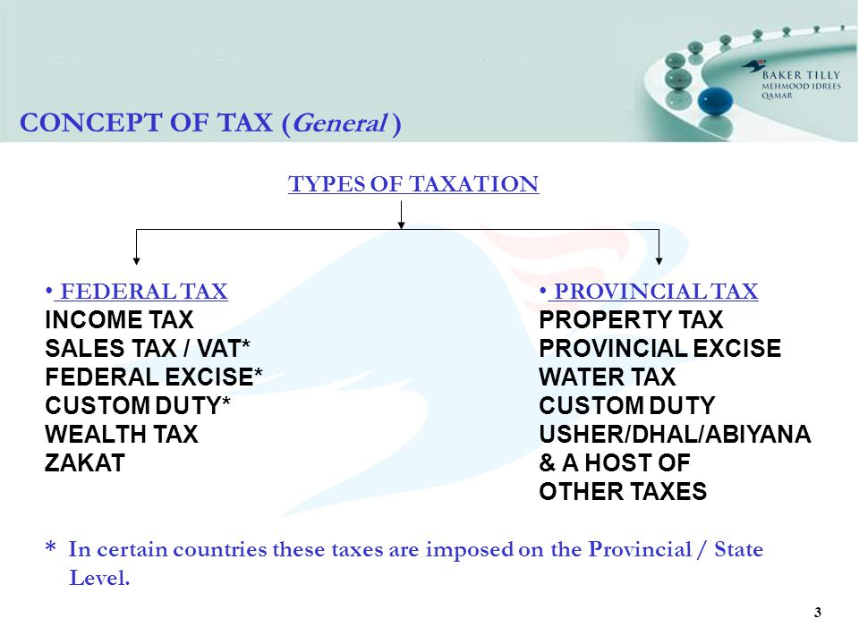 3 TYPES OF TAXATION CONCEPT OF TAX (General ) * In certain countries these taxes are imposed on the Provincial / State Level.