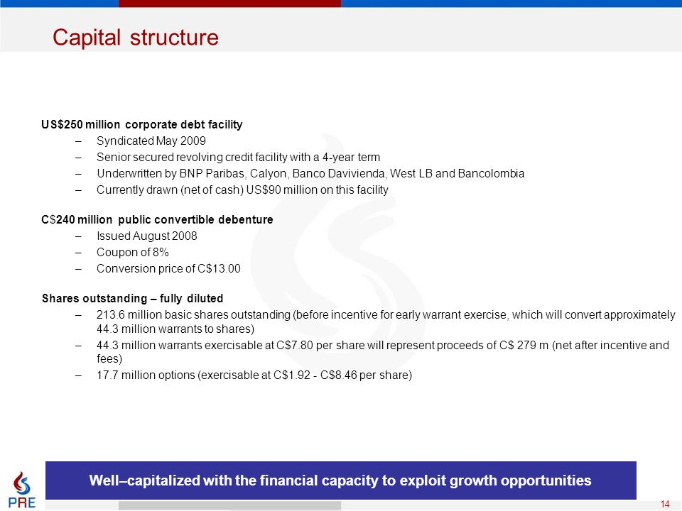 14 Capital structure US$250 million corporate debt facility –Syndicated May 2009 –Senior secured revolving credit facility with a 4-year term –Underwr