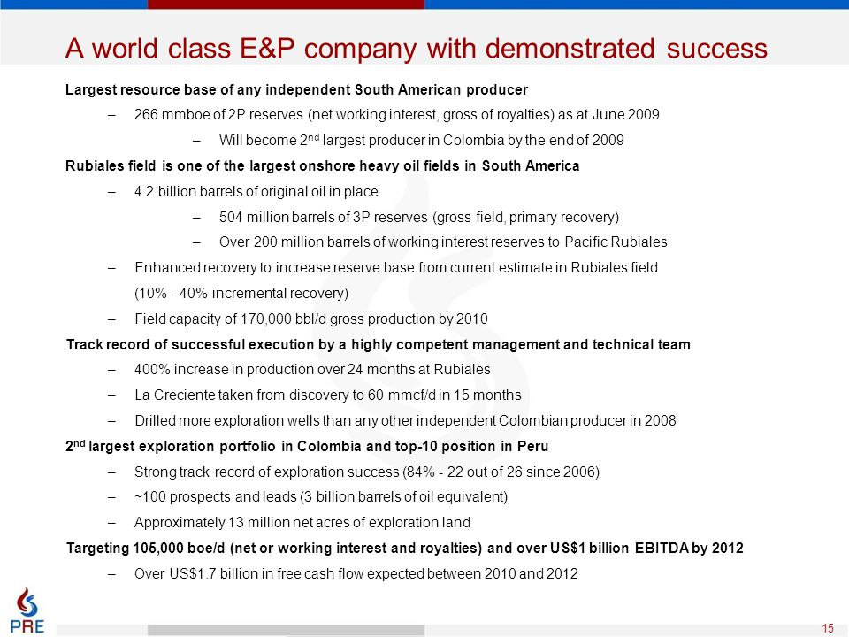 15 A world class E&P company with demonstrated success Largest resource base of any independent South American producer –266 mmboe of 2P reserves (net