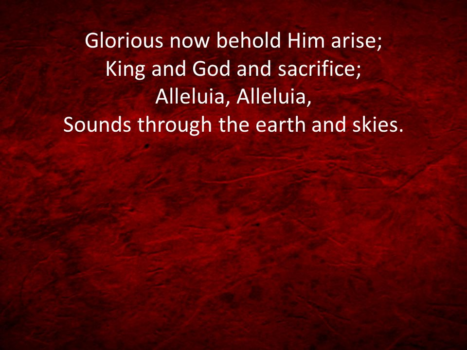 Glorious now behold Him arise; King and God and sacrifice; Alleluia, Alleluia, Sounds through the earth and skies.