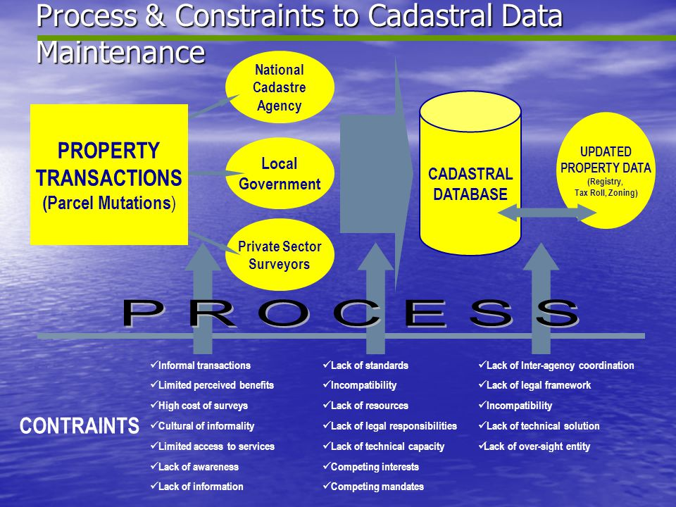 Process & Constraints to Cadastral Data Maintenance National Cadastre Agency Local Government Private Sector Surveyors CADASTRAL DATABASE UPDATED PROP