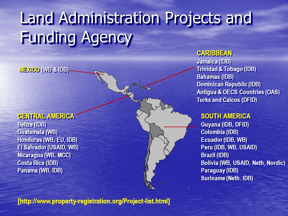 CENTRAL AMERICA Belize (IDB) Guatemala (WB) Honduras (WB, EU, IDB) El Salvador (USAID, WB) Nicaragua (WB, MCC) Costa Rica (IDB) Panama (WB, IDB) CENTRAL AMERICA Belize (IDB) Guatemala (WB) Honduras (WB, EU, IDB) El Salvador (USAID, WB) Nicaragua (WB, MCC) Costa Rica (IDB) Panama (WB, IDB) SOUTH AMERICA Guyana (IDB, DFID) Colombia (IDB) Ecuador (IDB, WB) Peru (IDB, WB, USAID) Brazil (IDB) Bolivia (WB, USAID, Neth, Nordic) Paraguay (IDB) Suriname (Neth.