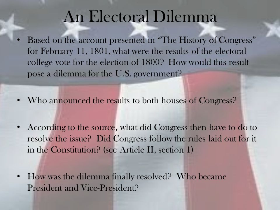 Solving the Dilemma Compare the text of the 12 th Amendment with the original language in Article II, section 1 of the Constitution on the electoral college process.