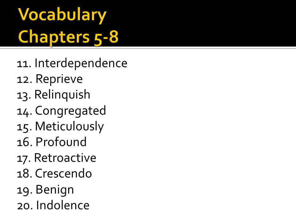 11. Interdependence 12. Reprieve 13. Relinquish 14. Congregated 15. Meticulously 16. Profound 17. Retroactive 18. Crescendo 19. Benign 20. Indolence