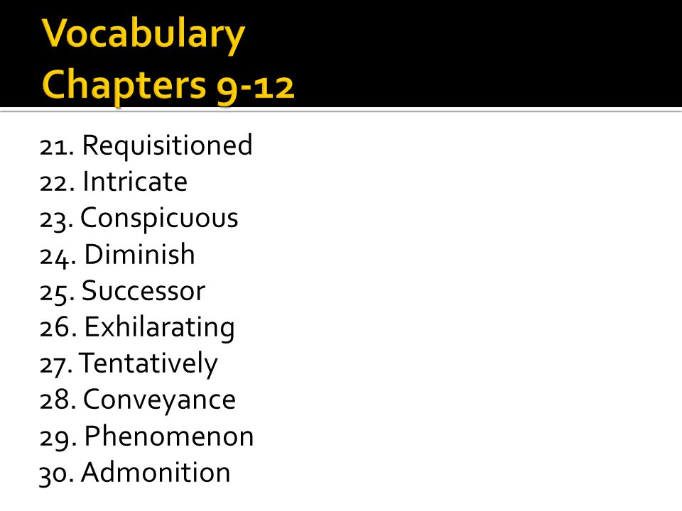 21. Requisitioned 22. Intricate 23. Conspicuous 24. Diminish 25. Successor 26. Exhilarating 27. Tentatively 28. Conveyance 29. Phenomenon 30. Admoniti