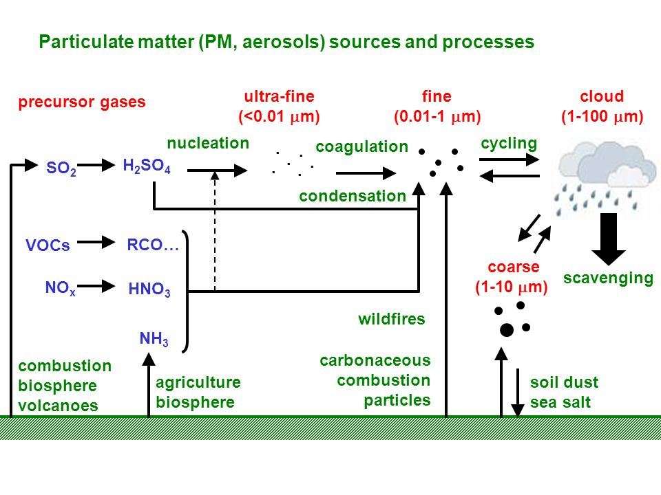 Particulate matter (PM, aerosols) sources and processes SO 2 H 2 SO 4 NH 3 VOCs NO x RCO… HNO 3 nucleation coagulation condensation carbonaceous combu