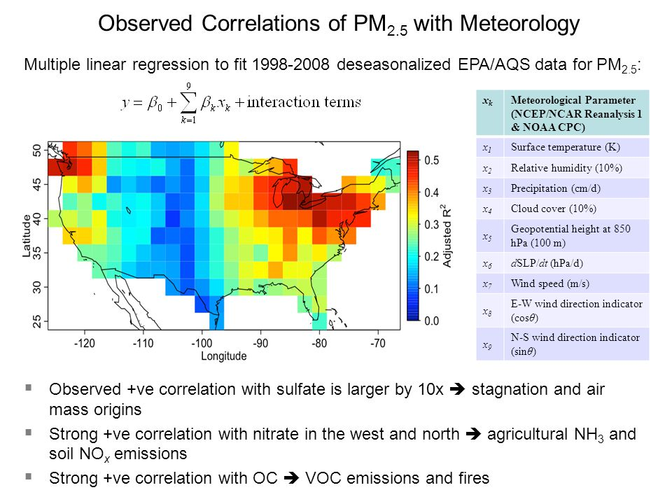 Multiple linear regression to fit 1998-2008 deseasonalized EPA/AQS data for PM 2.5 : xkxk Meteorological Parameter (NCEP/NCAR Reanalysis 1 & NOAA CPC)