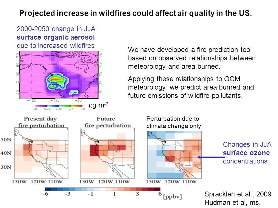 Projected increase in wildfires could affect air quality in the US. 2000-2050 change in JJA surface organic aerosol due to increased wildfires  g m -