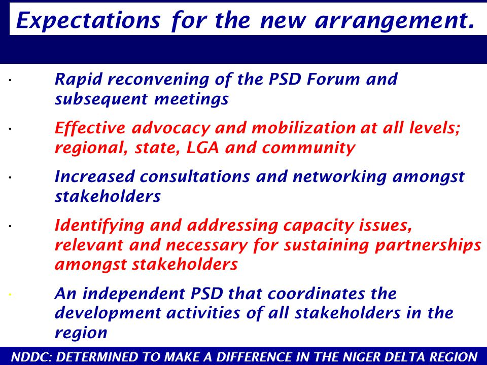 Rapid reconvening of the PSD Forum and subsequent meetings Effective advocacy and mobilization at all levels; regional, state, LGA and community Increased consultations and networking amongst stakeholders Identifying and addressing capacity issues, relevant and necessary for sustaining partnerships amongst stakeholders An independent PSD that coordinates the development activities of all stakeholders in the region Expectations for the new arrangement.