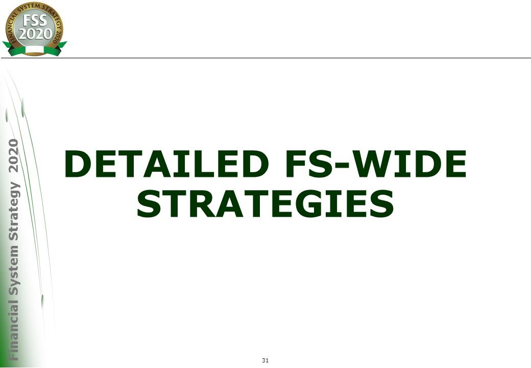 Financial System Strategy 2020 31 DETAILED FS-WIDE STRATEGIES