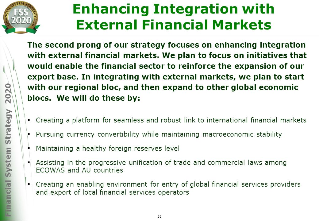 Financial System Strategy 2020 36 Enhancing Integration with External Financial Markets The second prong of our strategy focuses on enhancing integration with external financial markets.
