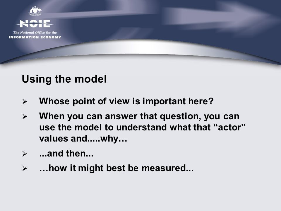 "Using the model  Whose point of view is important here?  When you can answer that question, you can use the model to understand what that ""actor"" va"