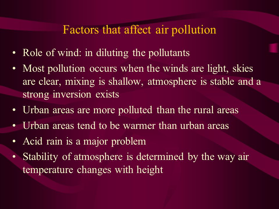 Factors that affect air pollution Role of wind: in diluting the pollutants Most pollution occurs when the winds are light, skies are clear, mixing is shallow, atmosphere is stable and a strong inversion exists Urban areas are more polluted than the rural areas Urban areas tend to be warmer than urban areas Acid rain is a major problem Stability of atmosphere is determined by the way air temperature changes with height