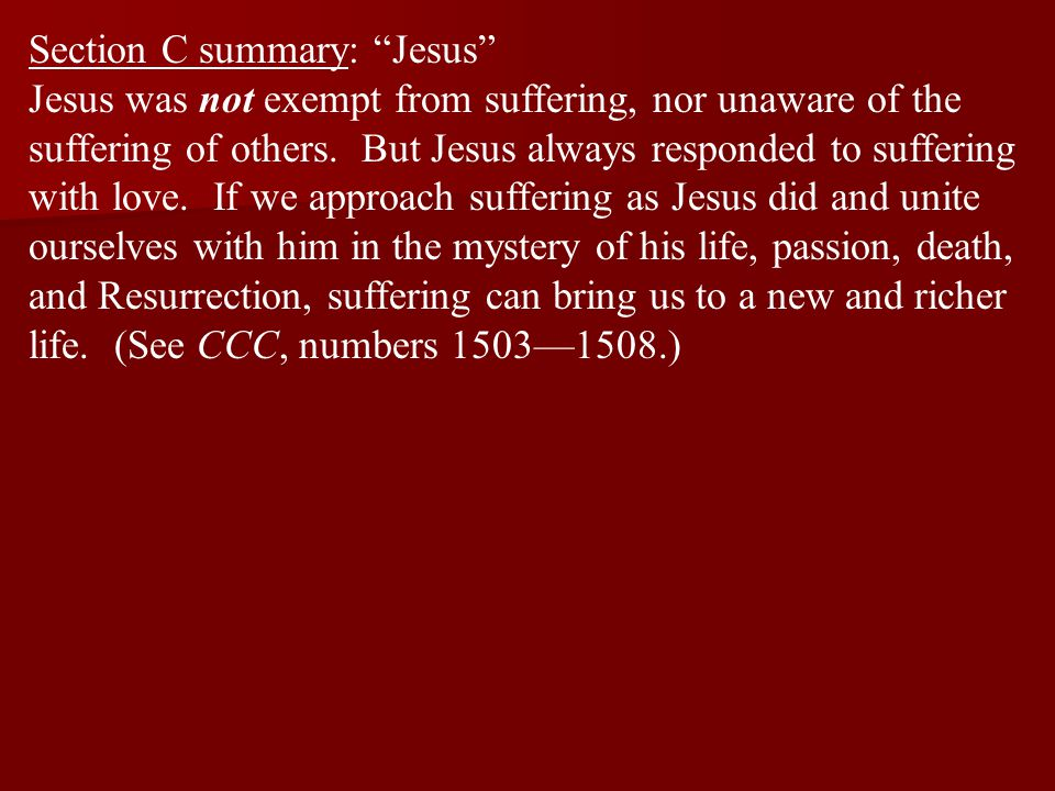 """Section C summary: """"Jesus"""" Jesus was not exempt from suffering, nor unaware of the suffering of others. But Jesus always responded to suffering with l"""