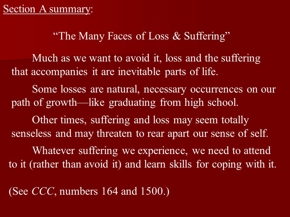 """Section A summary: """"The Many Faces of Loss & Suffering"""" Much as we want to avoid it, loss and the suffering that accompanies it are inevitable parts o"""