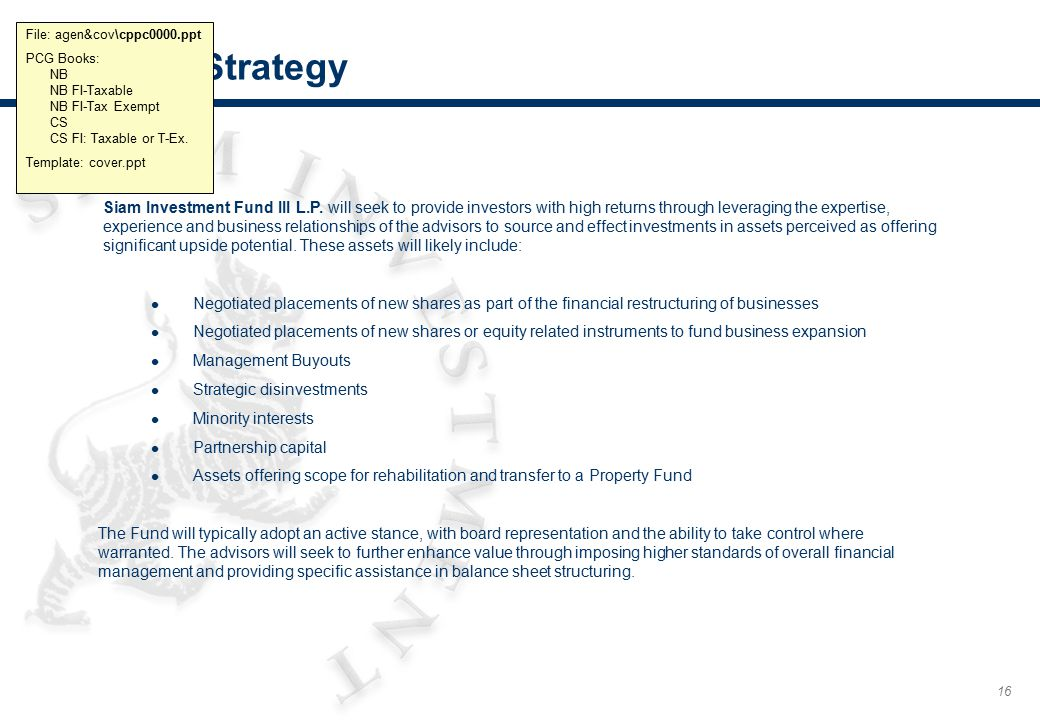 16 Fund Strategy File: agen&cov\cppc0000.ppt PCG Books: NB NB FI-Taxable NB FI-Tax Exempt CS CS FI: Taxable or T-Ex. Template: cover.ppt Siam Investme