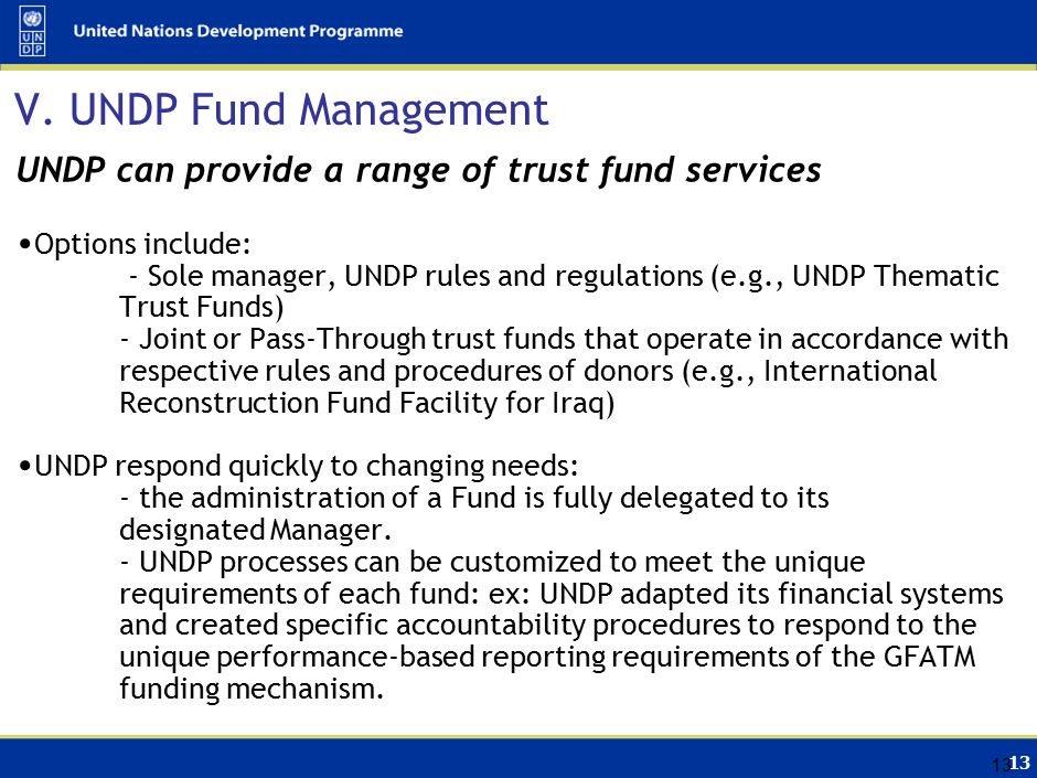13 V. UNDP Fund Management UNDP can provide a range of trust fund services Options include: - Sole manager, UNDP rules and regulations (e.g., UNDP The