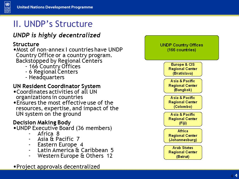 4 4 II. UNDP's Structure UNDP is highly decentralized Structure Most of non-annex I countries have UNDP Country Office or a country program. Backstopp