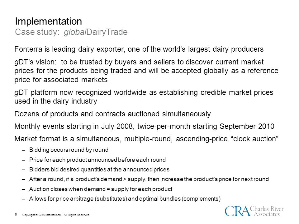 Copyright © CRA International. All Rights Reserved. 17 Results: gDT Prices Compared to Wheat Prices